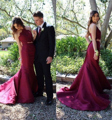 Elegant Halter Mermaid Lace Prom Dress 2020 With Lace_3