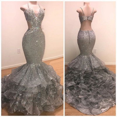 Glamorous Beads Sequins Prom Dresses | 2020 Mermaid Ruffles Evening Gowns_2