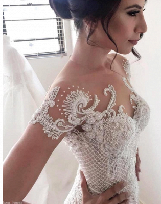 Gorgeous Ball Gown Lace Appliques Wedding Dress 2020 Short Sleeve Illusion LP076_4