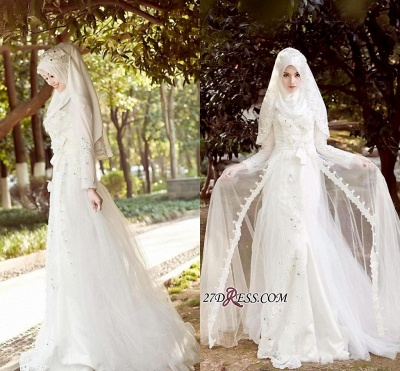 2020 Beads White Arabic Bow Delicate A-line Wedding Dress_4