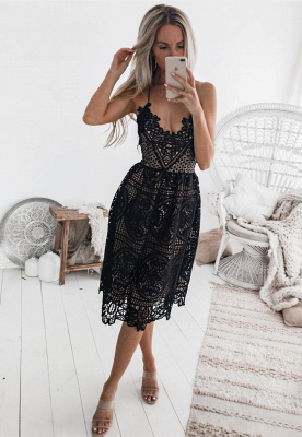 Sexy Black 2020 Short Homecoming Dress | Lace Spaghetti-Straps Party Dress_1