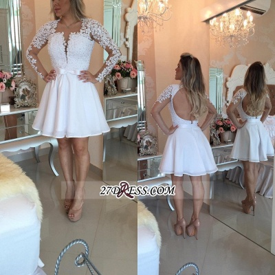 White Lace Long Sleeve Homecoming Dresses Short 2020 BC0724_3