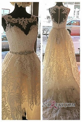 Lace Button Designer Glamorous Tulle Zipper Sleeveless Wedding Dress_1