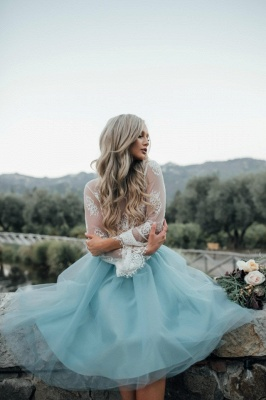 Long Sleeve Lace 2020 Short Prom Dress Tulle Party Gowns_4