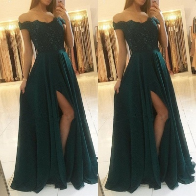 Elegant Off-the-Shoulder Lace Prom Dresses | 2020 Long Evening Gowns With Slit_2