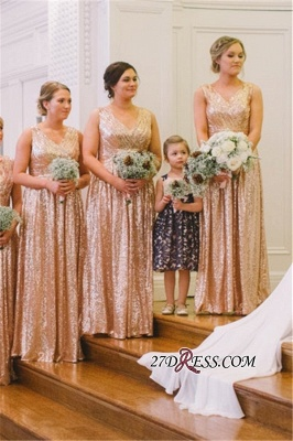 Sequin Ruffles Sleeveless V-neck A-line Church Floor-Length Classic Bridesmaid Dresses_7