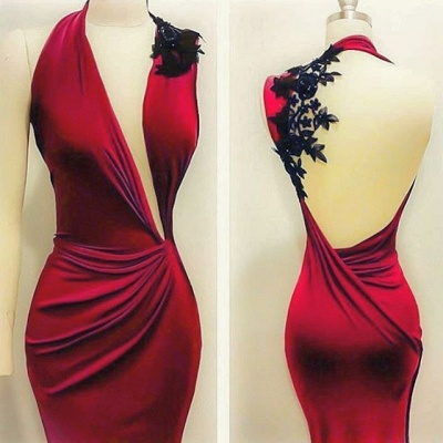 Sexy Red Black Lace Appliques Bodycon Sleeveless Prom Dress BA7869_3