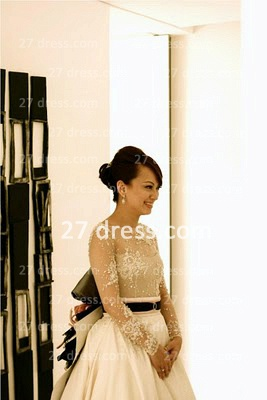 Elegant Lace Back Appliques A-Line Wedding Dresses Pearls Beaded Button Bridal Gown With Long Sleeves & Court Train_1