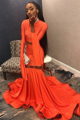 Sexy Long Sleeves Mermaid Prom Dress | Orange High-Neck Long Ruffle Prom Gown_6