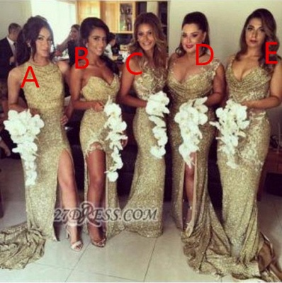 Sexy Sleeveless Golden Floor-length Bridesmaid Dress With Different Design_4