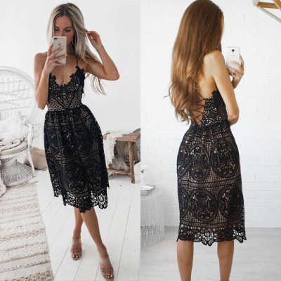 Sexy Black 2020 Short Homecoming Dress | Lace Spaghetti-Straps Party Dress_4