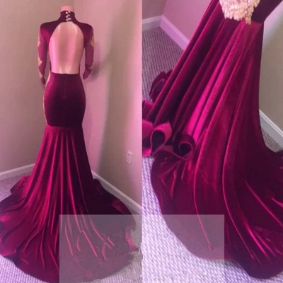 Elegant High-Neck Long Sleeve Prom Dresses | 2020 Mermaid Lace Evening Gowns_4