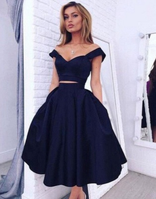 Gorgeous Two pieces Off-the-shoulder Prom Dress 2020 Short Homecoming Dress BA3609_1