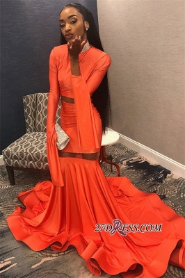 Sexy Long Sleeves Mermaid Prom Dress | Orange High-Neck Long Ruffle Prom Gown_1
