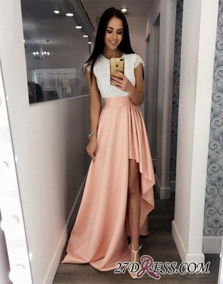 Cute Lace Prom High-low Fashion White-and-pink Cocktail Dress BC1037_1
