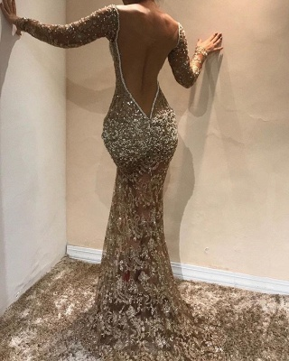Gorgeous Long Sleeves Lace Appliques Prom Dresses | 2020 Mermaid V-Neck Evening Gowns BC0975_2