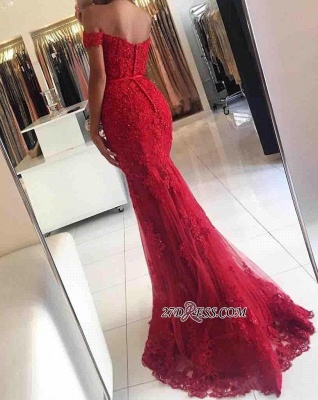 2020 Appliques Off-the-shoulder Red Lace Glamorous Mermaid Evening Dress_5