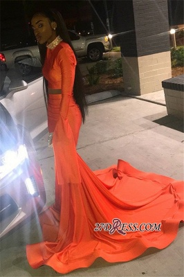 Sexy Long Sleeves Mermaid Prom Dress | Orange High-Neck Long Ruffle Prom Gown_3