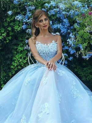 Baby Blue Gorgeous Sleeveless 2020 Evening Dress Long Tulle With lace Appliques BA7515_1
