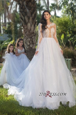 2020 Long-sleeve Modest Tulle A-line Lace-appliques Wedding Dress_3
