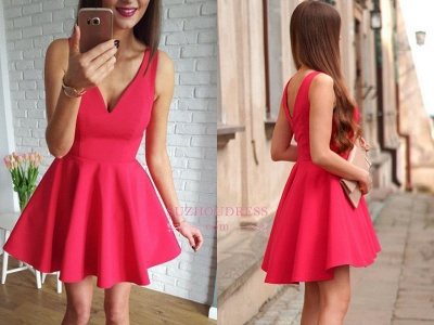Sleeveless A-line Red Short Simple Straps Homecoming Dress_1