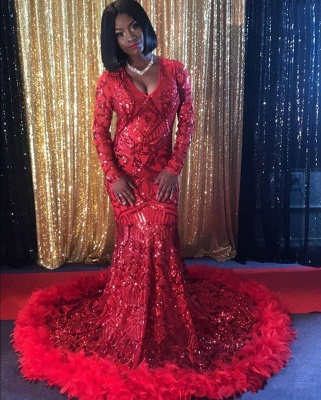 Sexy Red V-Neck Long Sleeve Prom Dress | 2020 Mermaid Sequins Feather Evening Gowns_2