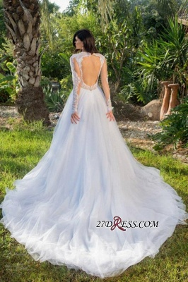 2020 Long-sleeve Modest Tulle A-line Lace-appliques Wedding Dress_2