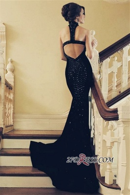 Sexy Black Halter Mermaid Prom Dresses   2020 Sleeveless Sequins Evening Gowns_2