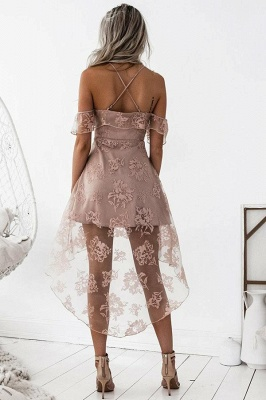 Short Hight-low Lace A-line Cute Homecoming Dress BA7000_4