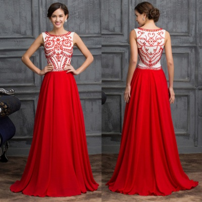 Sexy Red Sleeveless Long Chiffon Prom Dress With Crystals_3