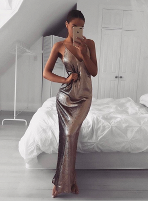 Sexy Sequins V-neck 2020 Prom Dress Long Mermaid On Sale_1