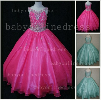 Organza Cheap Pageant Dresses for Girls Very Formal Gowns 2020 New Design Beaded Rhinestone Online_1