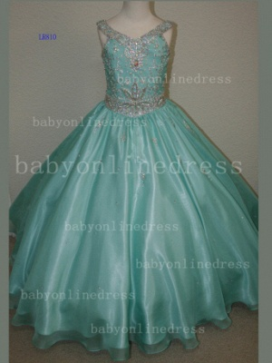 Organza Cheap Pageant Dresses for Girls Very Formal Gowns 2020 New Design Beaded Rhinestone Online_2
