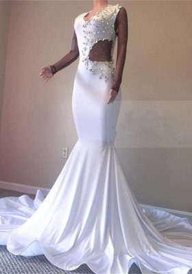 Elegant White Mermaid Prom Dresses | 2020 Crystal Evening Gowns BC0692_1