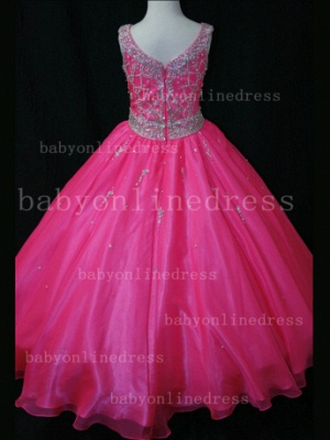 Organza Cheap Pageant Dresses for Girls Very Formal Gowns 2020 New Design Beaded Rhinestone Online_5