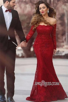 Lace Off-the-shoulder Red Elegant Long Long-Sleeve Mermaid Evening Dress BA3596_2