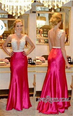 Sleeveless Tulle Sheer Beadings Sheath Sexy Appliques Prom Dresses_2