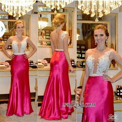 Sleeveless Tulle Sheer Beadings Sheath Sexy Appliques Prom Dresses_1