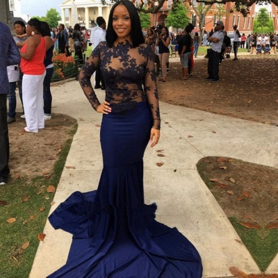 Navy Long-Sleeve 2020 Prom Dress   Lace Mermaid Evening Party Gowns_3