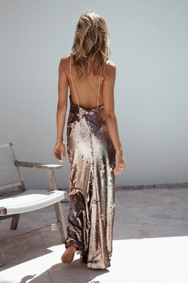 Sexy Sequins V-neck 2020 Prom Dress Long Mermaid On Sale_4
