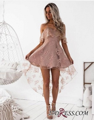 Short Hight-low Lace A-line Cute Homecoming Dress BA7000_3