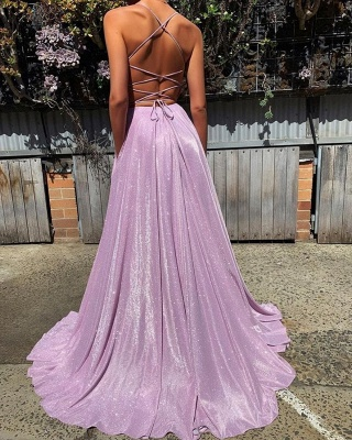 Gorgeous Spaghetti-Straps Long 2020 Prom Dress | Sequins V-Neck Evening Party Dress BC1727_2