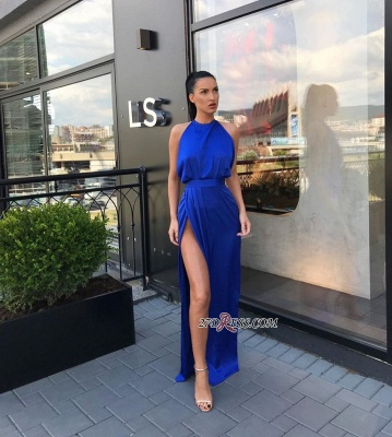 Sheath Slit Royal-Blue Sleeveless Jewel Attractive Evening Dresses_1