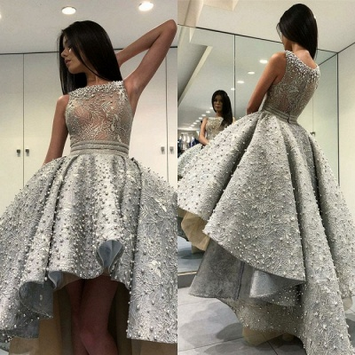 Glamorous Sleeveless Hi-Lo Prom Dress   2020 Evening Party Gowns With Pearls_3