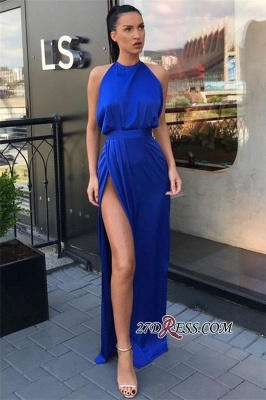 Sheath Slit Royal-Blue Sleeveless Jewel Attractive Evening Dresses_2