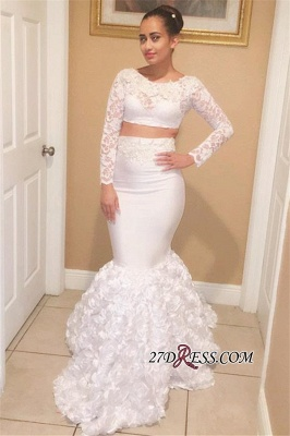 Sexy Two-Pieces Mermaid White Long-Sleeves Lace Prom Dresses bk0_1