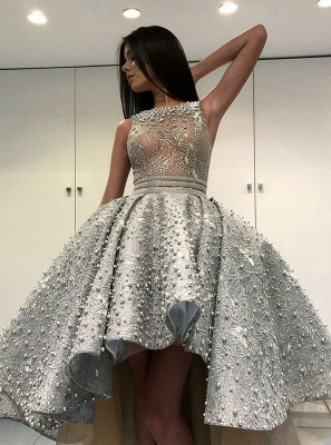 Glamorous Sleeveless Hi-Lo Prom Dress   2020 Evening Party Gowns With Pearls_1