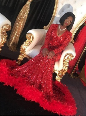 Sexy Red V-Neck Long Sleeve Prom Dress | 2020 Mermaid Sequins Feather Evening Gowns_3