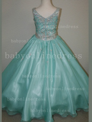 Organza Cheap Pageant Dresses for Girls Very Formal Gowns 2020 New Design Beaded Rhinestone Online_3