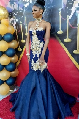 Navy Blue Halter 2020 Prom Dress   Mermaid Evening Gown With Appliques BK0_1